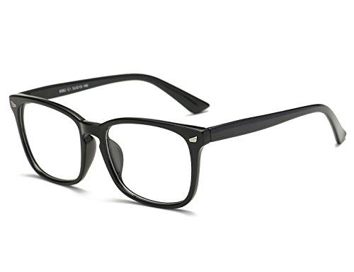 Bmeigo Klare Linse Gläser Nerdbrille für Frauen und Männer klassische Schwarzer Rahmen Unisex...