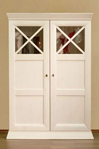 Soma Vitrine 2-türig Standvitrine halbhoch, Quadro Pinie massiv (BxHxL) 115 x 167 x 47 cm Pinie weiß gekälkt ohne Beleuchtung