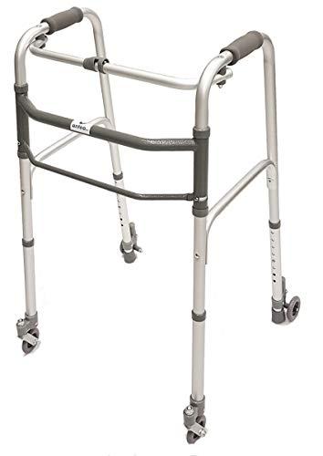 Deambulatore pieghevole, regolabile in altezza con 2 ruote piroettanti e 2 ruote con sistema autobloccante