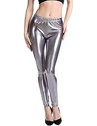 9e1ce67452 Hibote Punk Rock Cuero de imitación de Cuero Polainas Mujeres Pantalones  Púrpura Metallic Gold Shiny Sexy