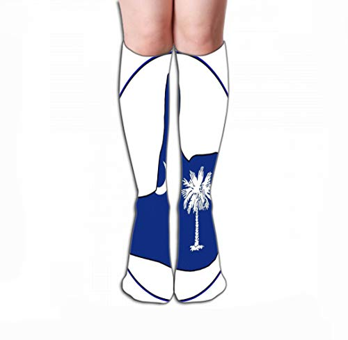 Men Women Outdoor Sports High Socks Stocking South Carolina Flag Hand Giving Thumbs up All Over White Thumbs up South Carolina White Tile Length 19.7