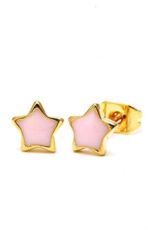 Chic-Net Brass Boucles d'oreille étoile or 6mm Multicolore émail sans Nickel laiton Transparent