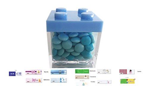Chance irpot - 24 x scatoline portaconfetti lego vari colori + 1 kg nembo + 24 bigliettini (celeste)