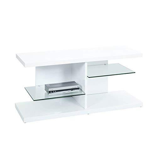 esidra Gulf Shores Table Porte TV, Bois, Blanc, 120 x 40 x 52 cm