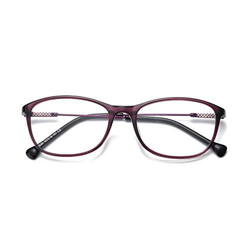 YMTP Platz Brillenfassungen Für Frauen Männer Brillen Mit Transparenten Gläsern Kunststoff Titan Clear Gläser Für Kurzsichtigkeit, Lila