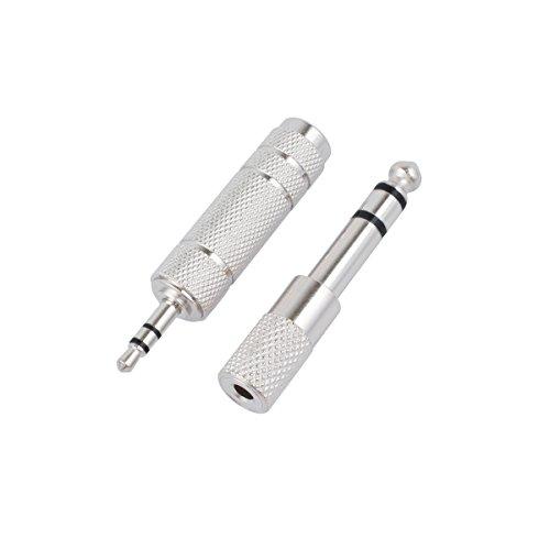 CE-Link Stereo Audio Adapter 6.35mm Klinkenstecker auf 3.5mm Klinken Buchse + 6,35mm Klinken-Buchse zu 3,5mm Klinken-Stecker für Kopfhörer oder Lautsprecher, Metall, 2 Stück - Silber
