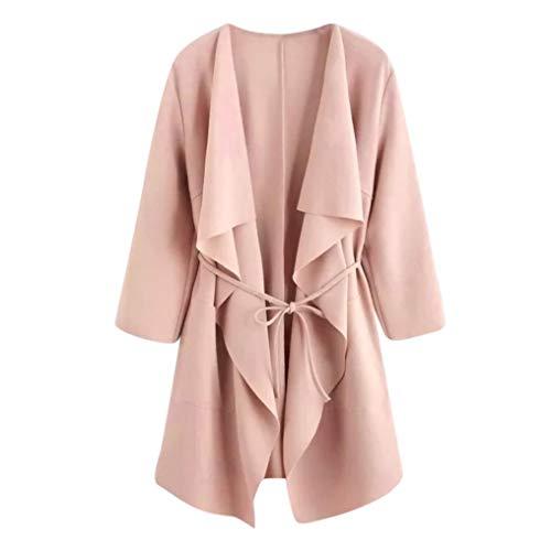 OIKAY Mantel Jacke Outwear Sweatshirt Frauen Casual Wasserfall Kragen Taschenfront Wrap Pullover Tops Wrap Sweater Jacke