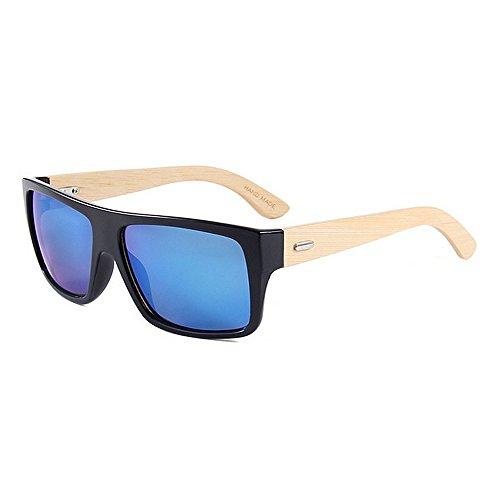 Yiph-Sunglass Sonnenbrillen Mode Flat Top Colored Lens Unisex Bambus Sonnenbrille UV-Schutz Handgefertigt für Männer, Frauen (Farbe : Blau)