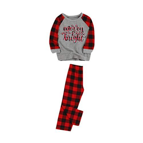 Cuteelf Weihnachten Eltern-Kind-Brief drucken Shirt T-Shirt + gedruckte Hosen Hausdienstanzug bequemes Zuhause kalt warm langärmelige Hosen Pyjamas Familienkleidung