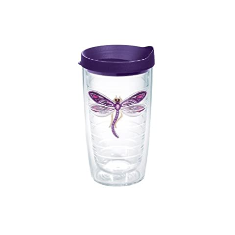 Tervis Shimmer Layered Purple Dragonfly Tumbler with Purple Lid, 16-Ounce