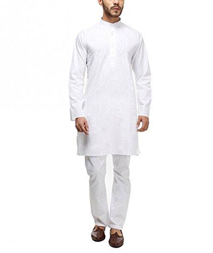Royal Kurta Mens White 100%Cotton Kurta Pyjama Set