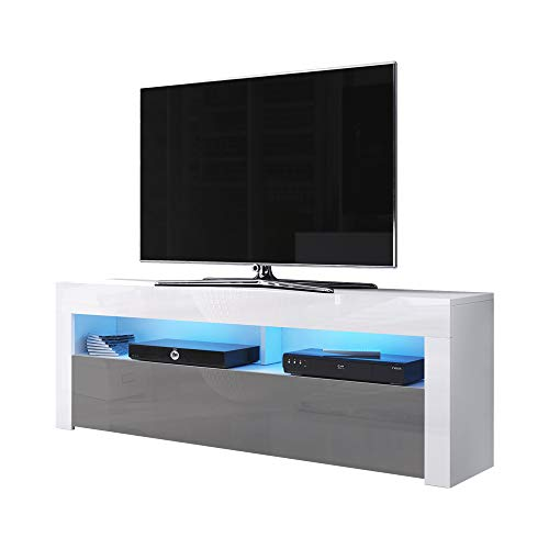 Alan Meuble TV TV 160 cm Blanc Mat/Gris Brillant LED Bleu