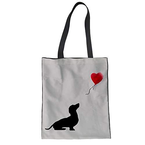 Bolso de lona de algodón con diseño de perro salchicha Nopersonality para...