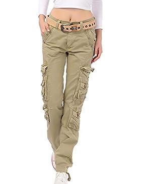 Donna Pantaloni Lunghi Donna A Wita Media Tasche Multiple Slim Fit Pantaloni Cargo a Piedi stretti Moda Trekking...