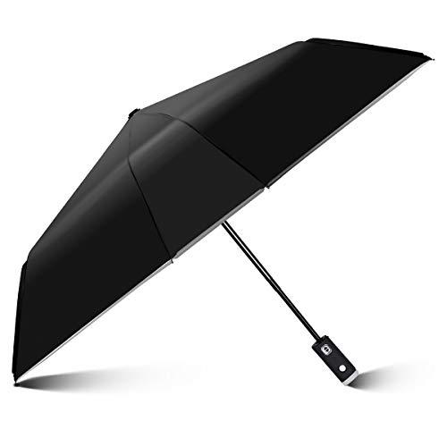 YoungRich LED Automatik Regenschirm Reflektierend Nachtsicht Taschenschirme Wasserabweisend Stoff Solide Durable Winddicht Stilvolle LED Taschenlampe Für Block Regen UV Sicherheit 100x58cm Schwarz