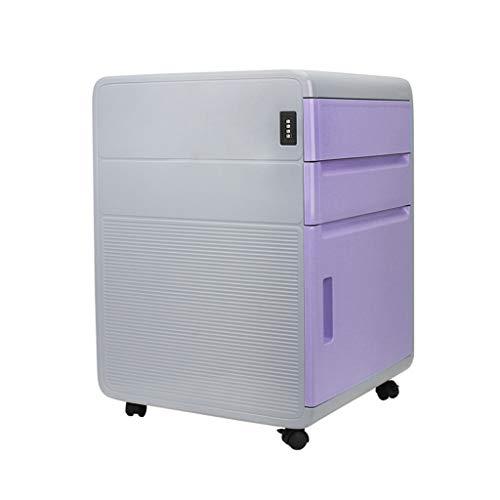 Hänge- & Einstellmappen Passwort Aktenschrank Datenspeicher Schließfach Aktivität DREI Pumpensperre Schubladenschrank Schreibtisch unter dem Passwort Schrank (Color : Purple, Size : 41 * 40 * 59cm) -
