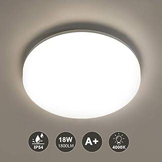 Plafoniera LED,Azhien 4000K Bianco Naturale Lampada a Soffitto per Interni, Impermeabile IP54 Plafoniere Tonde per Bagno Camera da Letto Cucina Corridoio Balcone Sala da Pranzo