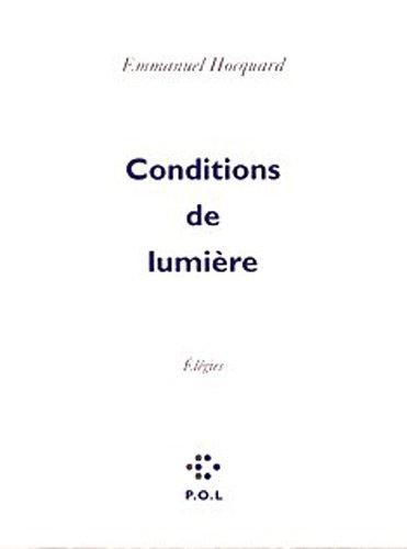Conditions de lumière: Élégies
