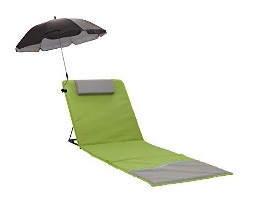 Meerweh Strandmatte XXL mit Lehne & Schirm Strandliege Isomatte Picknickdecke ca. 200x60cm Sonnenliege, grün/grau, 200 x 60 x 68 cm