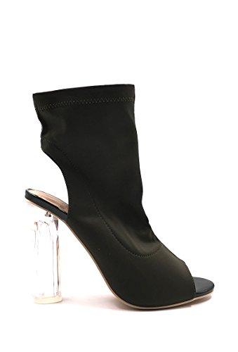 CHIC NANA . Chaussure Femme Mode Bottine à talon transparent, bout ouvert. Vert Kaki