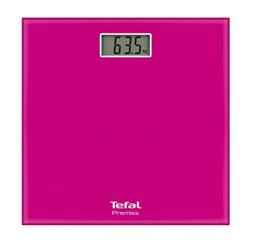 Pese Personne Tefal Premiss - Rose - 28x28x2.2 cm - Verre tremp� - Mesure de poids kg/st.Ib/Ib - Capacit� 150 kg - Mise en marche et arret automatiques - Type de batterie CR 2032
