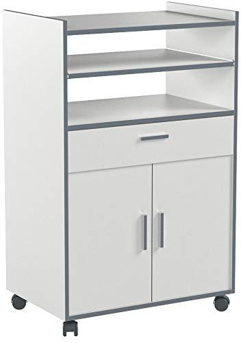 Habitdesign 009910O - Mueble auxiliar mesa cocina con un cajón y dos puertas, color Blanco,...