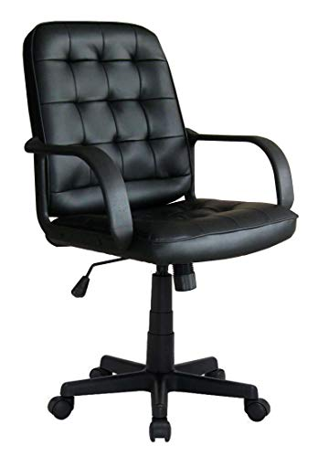 Avanti Trendstore - Quinto - Bürostuhl in schwarzem Kunstleder, Maße: BHT 58x92-102x60cm -