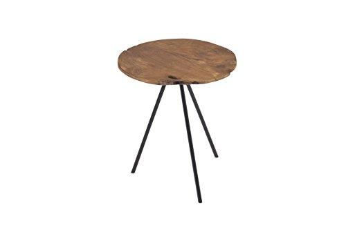 Pirouette Table d'Appoint en Teck Pieds en Métal, Bois, Bois Naturel-Métal, 30 x 30 x 40 cm