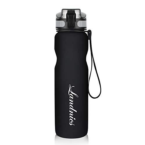 Botella de Agua Deportiva 1L, A Prueba de Fugas, sin BPA,Ideal para Correr, Acampar, Ir de excursión, Viaje, Andar en bicicleta, Gimnasio y Otras Actividades al Aire Libre-Negro