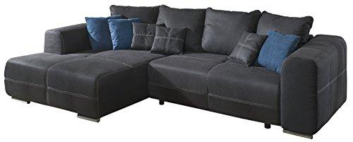 Cavadore Polsterecke Binato mit Schlaffunktion und Longchair links / Gemütliche Schlafeckcouch mit Wellenunterfederung / Maße: 286 x 87 x 171 cm (BxHxT) / Farbe: Toro Anthrazit (dunkelgrau) in Lederoptik