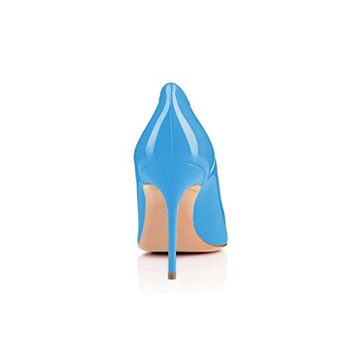 EDEFS Scarpe col Tacco Donna Stiletto Elegante Bureau Pumps Blue