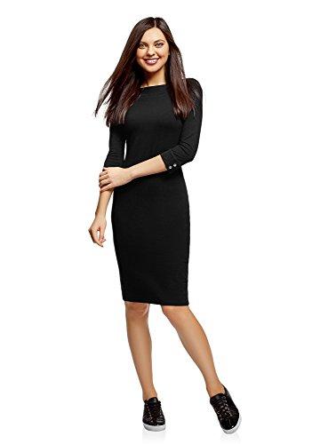 oodji Ultra Mujer Vestido Entallado con Escote Barco, Negro, ES 36 / XS