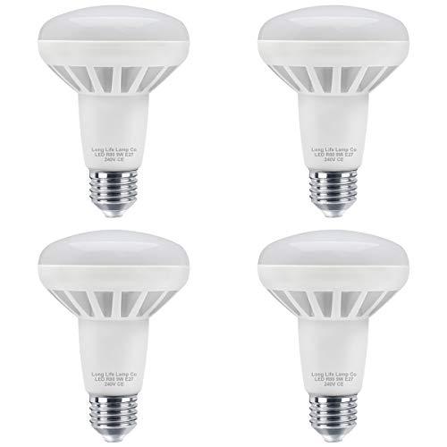 LED-Reflektorlampe, R80, 9W, E27, energiesparend, 700 Lumen, entspricht der Helligkeit von 75W, 4Stück