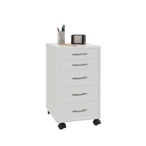 Schreibtisch Schrank Weiß (Unbekannt FMD Möbel 336-001 Rollcontainer Freddy, 33 x 63,5 x 38 cm, weiß)