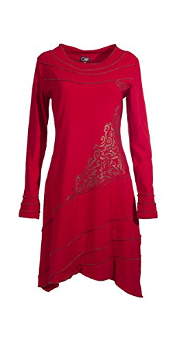 Coline - Robe manches longues style tribal Rouge