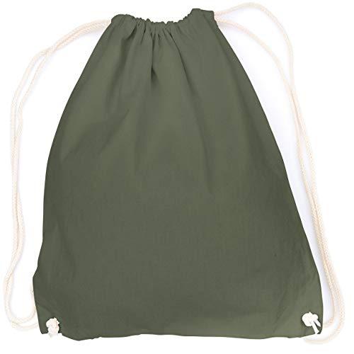 vanVerden - Turnbeutel aus Baumwolle - Oliv-Grün blanko/unbedruckt - grüner Stoff-Beutel mit Kordelzug Verschluss