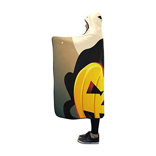YSJXIM Mit Kapuze Decke Schwarze Katze Kürbis Fledermäuse auf Moonlight Decke 60 x 50 Zoll Comfotable mit Kapuze werfen Wrap