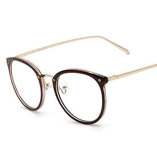 Herren Sonnenbrillen Männer Frauen Plain Glasses Retro Large Frame Brille Trend Ultra Light TR90 Brillengestell LTJHJD (Color : 01Tea, Size : Kostenlos)