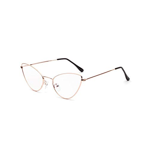 Metallspitze Ecke Cat Retro Small Glasses Frame, klare Linse. Brille (Farbe : Rose Gold)