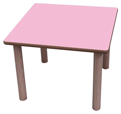 Mobeduc–Kindertisch, quadratisch, Holz 80 x 80 cm, Talla 3 Haya y rosa