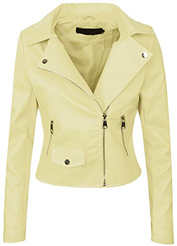 Rock Creek Selection Damen Biker Jacke Lederjacke D-271 [PU-2221B Beige 38]