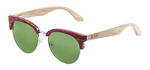 OCEAN SUNGLASSES Medano Lunettes de Soleil Mixte Adulte, Bamboo Brown Frame/Wood Natural Arms/Revo Green Lens