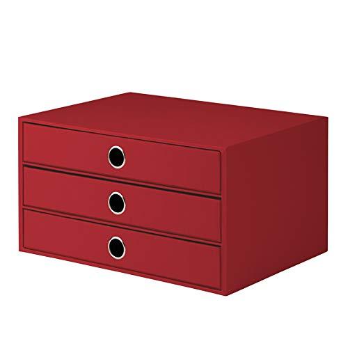 Rössler 1524452363 - S.O.H.O. 3er Schubladenbox  für DIN A4, mit Griffloch, rot -