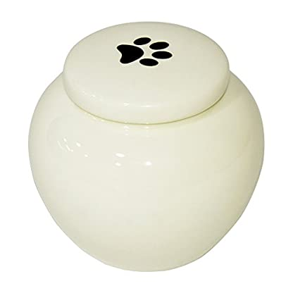 Homelix White Pet Cremation Urn Ceramics Memorial Urn For Cat Dogs Ashes (Pet urns-05) 3