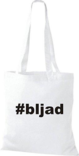 Shirtstown Stoffbeutel hashtag # bljad weiss