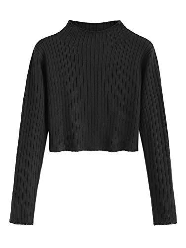 ZAFUL Damen Langarm Pullover Damen Sweater mit Rundhals Strickpulli Oberteile Sweatshirt Herbst Schwarz L Size