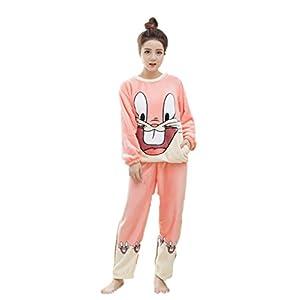22661e0132 Auspicious beginning Mujeres Sueltan el Pijama de Franela de Dormir Set  Precioso camisón Homewear