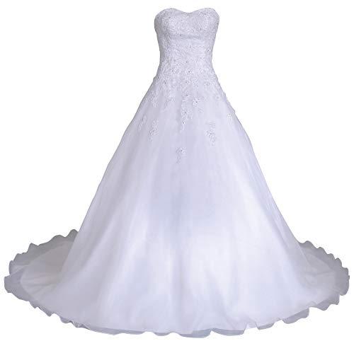 Romantic-Fashion Brautkleid Hochzeitskleid Weiß Modell W081 A-Linie Lang Satin Organza Perlen...