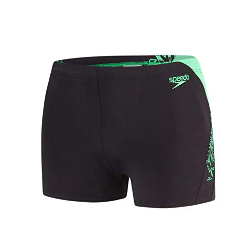 Speedo Herren Boom Splice Bade-Shorts, Schwarz/Fake-Grün, 34
