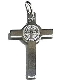 bd72741d7d9 perlascarel Colgante Cruz de San Benito y Medalla San Benito Plata de Ley  925 29x27 mm